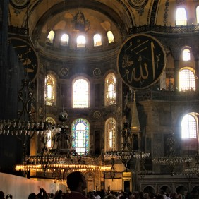 Wonderful combination of Christianity in byzantine mosaics and Islamic calligraphy at Hagia Sophia